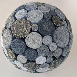 """Sphere"" denim fabric, 2020 12""x 12"""